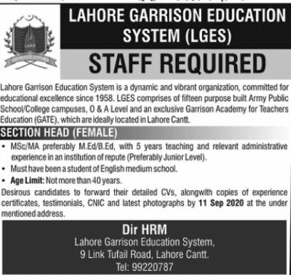 Lahore Garrision Education System