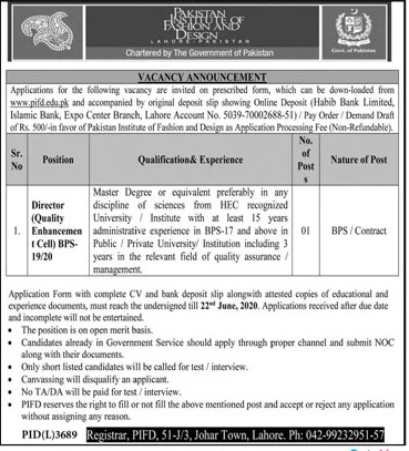 Jobs In Pakistan Institute Of Fashion And Design Published In Dawn Newspaper On 6 June 2020 Saturday