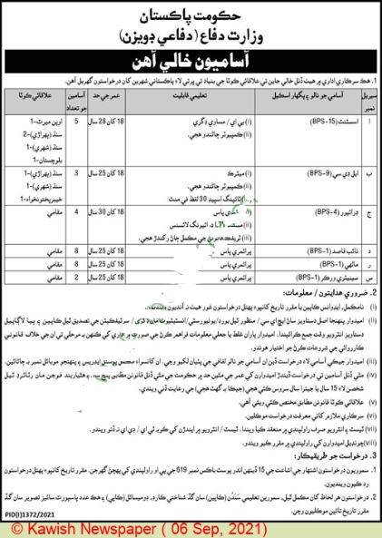 Ministry Of Defence Jobs in Islamabad